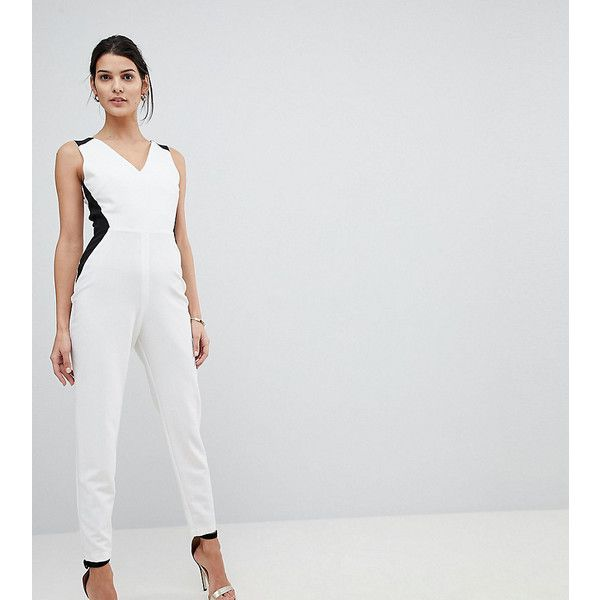 Vesper Tailored Jumpsuit With Contrast Sculpt Panels (€83) ❤ liked on Polyvore featuring jumpsuits, white, white jumpsuit, white tailored jumpsuit, v neck jumpsuit, zip jumpsuit and stretch jumpsuit