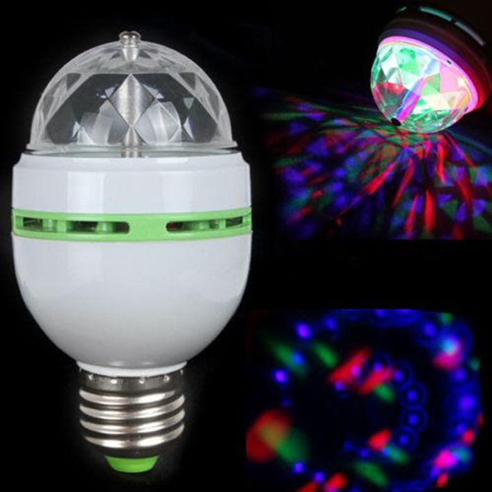 3W E27 RGB Full Color LED Bulb Auto Rotating Stage Effect DJ Disco Light Bulb Mini Laser Stage Bar Party Light Decoration