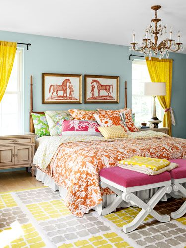 Cheery blue walls, bright yellow drapes, and @Pottery Barn quilt and shams.Blue Wall, Bedrooms Design, Colors Bedrooms, Quilt Barns, Colorful Bedroom, Pottery Barn, Bedrooms Decor, Bedrooms Ideas, Bright Colors