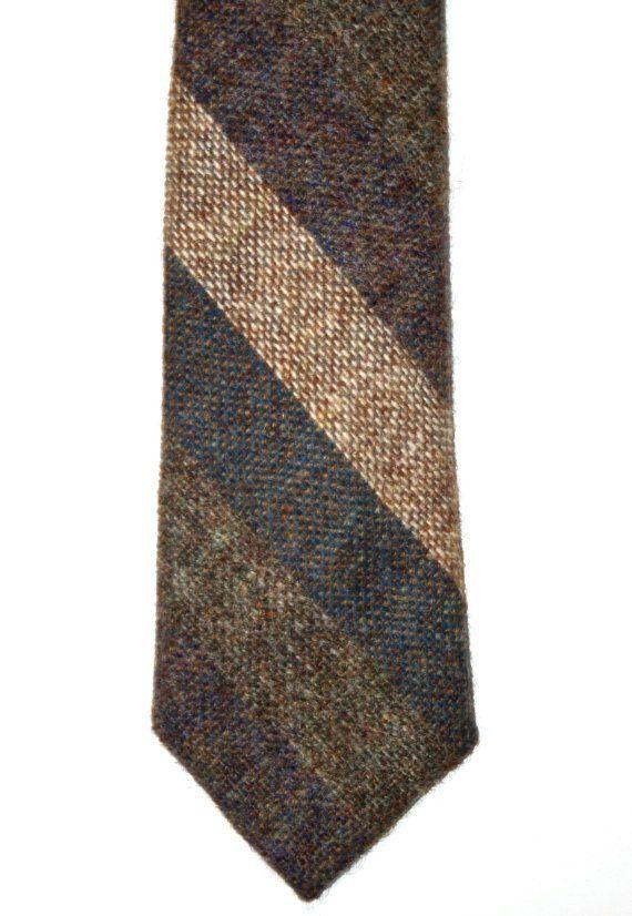 Vintage Millars Wool Striped Mens Necktie Made in Ireland available at VintageMensGoods, $20.00