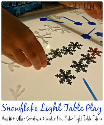 Snowflake Light Table Play plus 14 other Christmas and winter themed fine motor light table ideas from And Next Comes L.  Part of the Fine Motor Fridays Christmas Round Up Edition.
