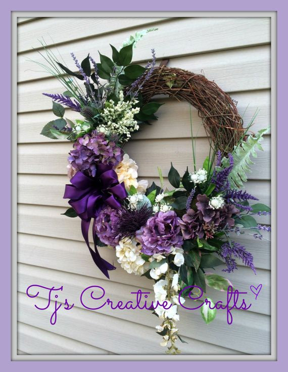Victorian Spring Wreath, Shabby Chic Wreath, Purple Spring Wreath, Lavender Wreath, Romantic Decor,  Designer Wreath, Elegant Wreath