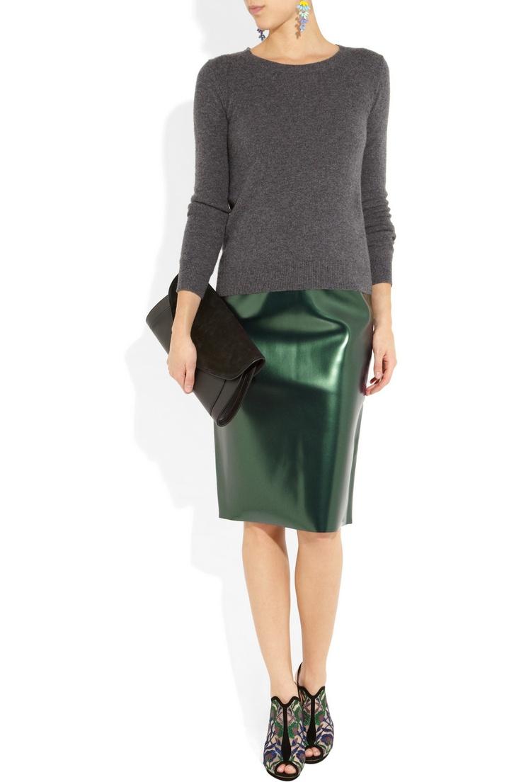 bonded pvc pencil skirt