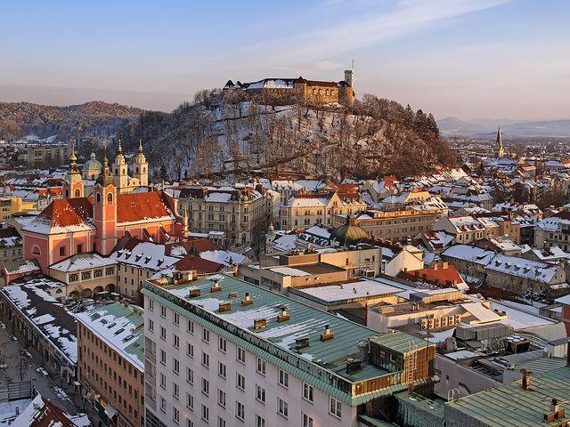 SLOVENIA, LJUBJANA, Winter Views from Nebotičnik (City Hearth) by Union*, via Flickr