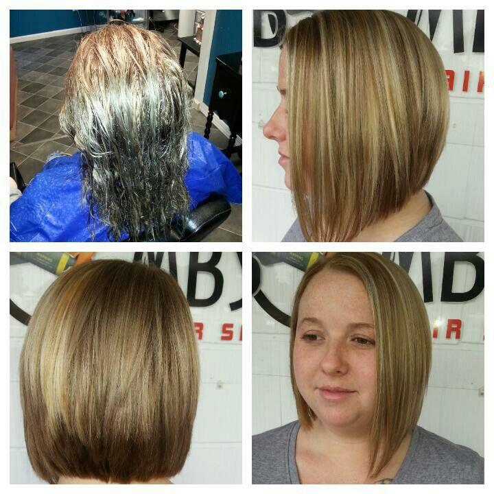 A SYMMETRICAL cut with Blonde hi lites
