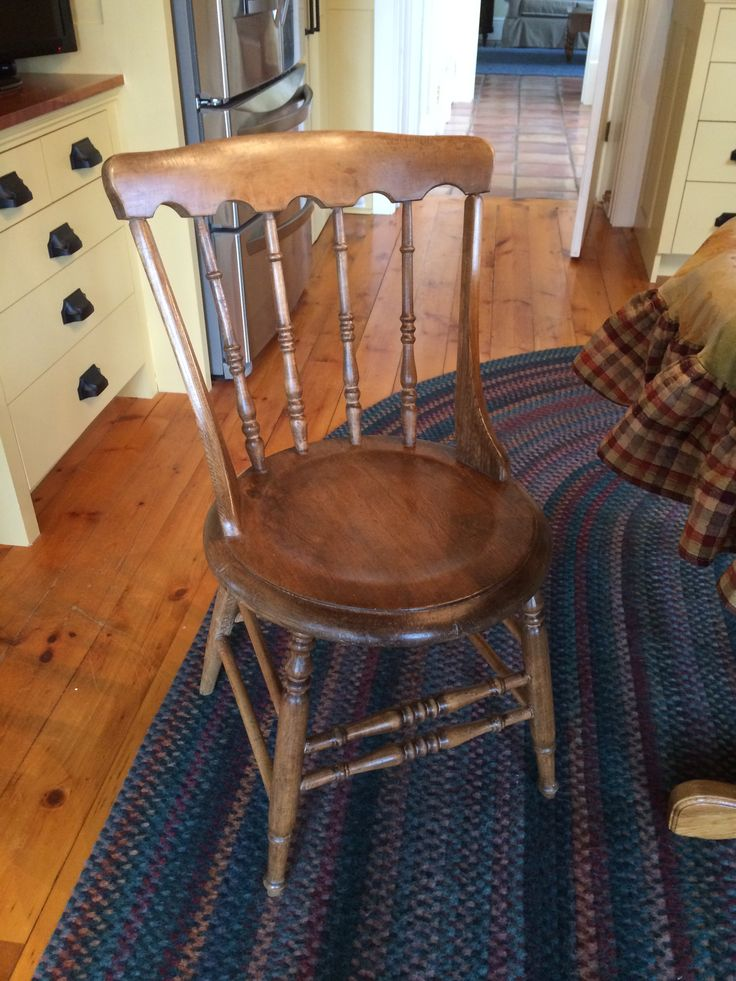 New, old gunstock chairs added to kitchen. I just had to do a light sanding, washing with Murphy's oil soap and then a coat of dark wax, light wax and lots of elbow grease!!