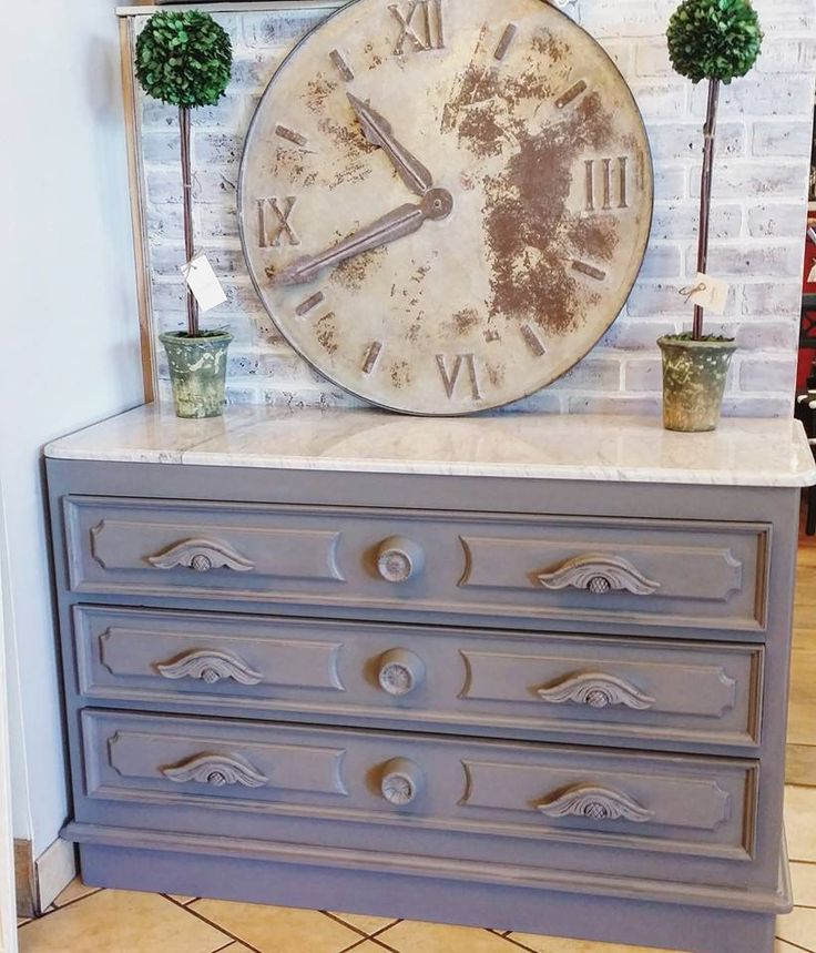 The Classic Farmhouse painted this marble top dresser with General Finishes Driftwood Milk Paint for a rustic yet elegant look.   Visit The Classic Farmhouse at 22 A ST SW Auburn, WA 98001 to purchase your favorite GF products!