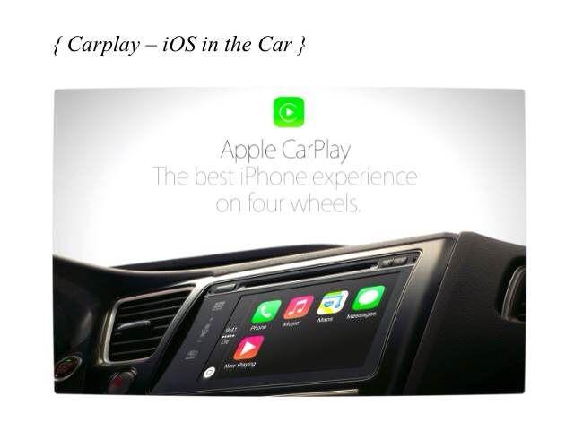 AppleCarPlay : CarPlay는 여러 가지 운전 상황에 대응할 수 있게 설계된 Siri 음성 컨트롤을 탑재하고 있다. 운전 중 필요한 여러 앱들 역시 근본적으로 새롭게 디자인되어, 두 눈은 도로 위에, 두 손은 운전대에 고정한 채로도 불편함 없이 사용할 수 있다.
