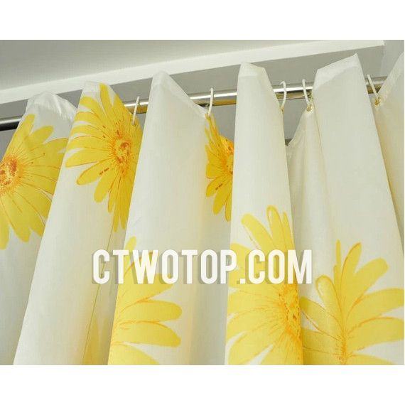Sun Flower Patterned Yellow Country Inexpensive Shower Curtains