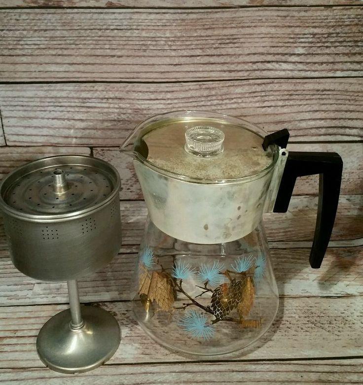 Douglas Flameproof Percolator Coffee Maker Aqua Gold Pinecone Atomic Midcentury