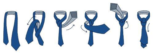 """Узел """"Windsor"""" (""""виндзор"""") - этот элегантный узел завязывают также, как """"Half Windsor"""", добавляя еще один виток со стороны правого уголка воротника. Используя галстуки разной ширины или меняя положение узкого и широкого концов галстука, можно добиться необходимого размера узла."""