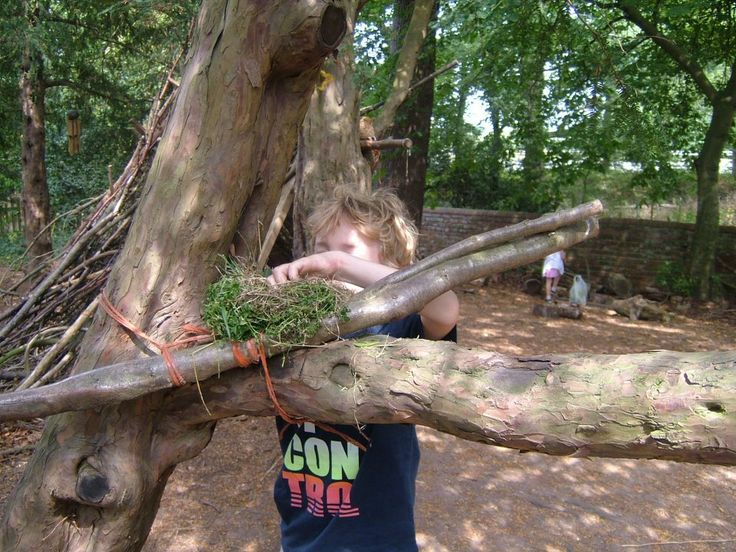 Building a nest on the Adventure Xperience! Children learn lots about respecting nature and the environment. #adventure #nature #children #physicalactivity