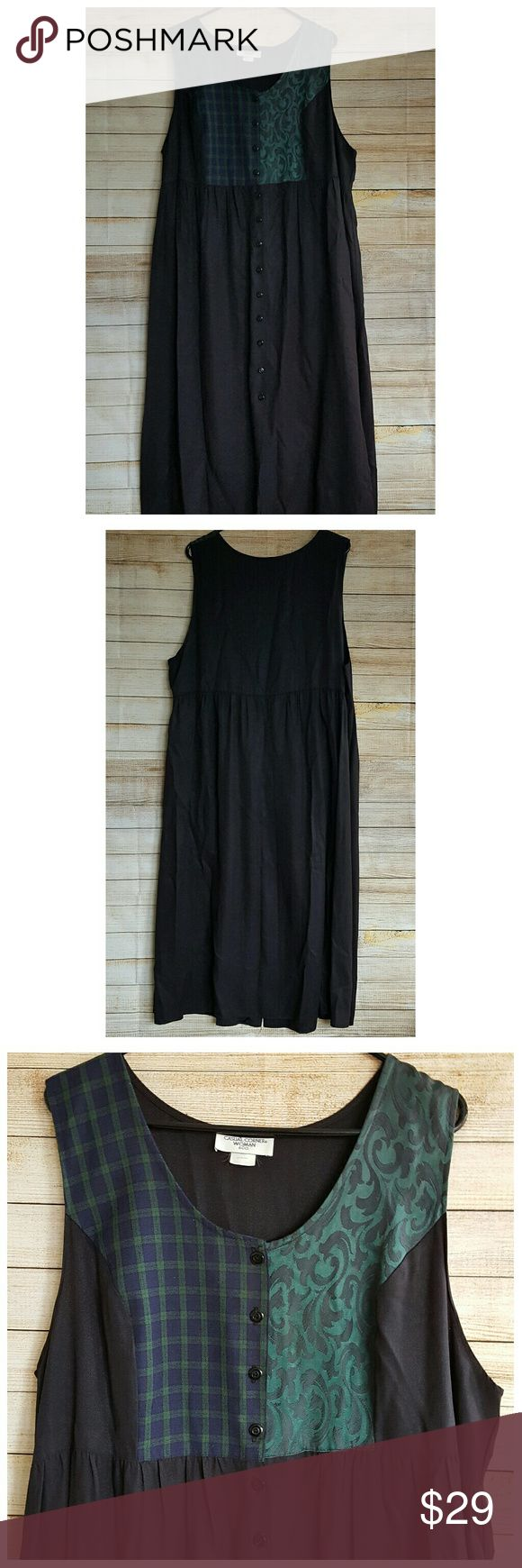 Long Jumper Dress button up sleeveless plus sz 18 Casual Corner Womens Jumper Dress - Long; Button Front; Modest; Sleeveless.  Plus Size 18 Armpit to armpit:  25.5 inches, laying flat, unstretched. Length:  47.5 inches. Waist laying flat: 24 inches. country corner woman Dresses Midi