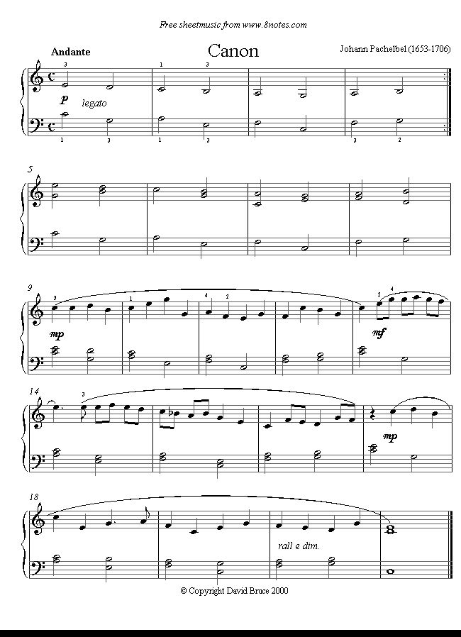 Pachelbel - Canon in D sheet music for cello and piano PDF
