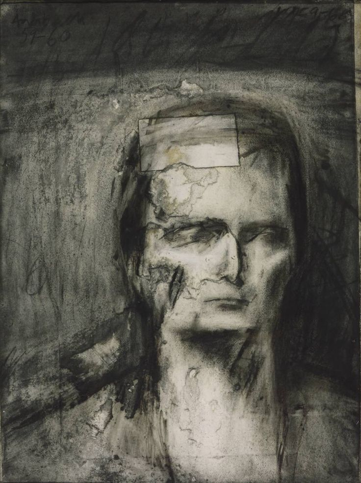 Frank Auerbach 'Head of E.O.W.', 1959–60 Estella West - began posing for Auerbach in the early 1950s. This drawing was made entirely from life and took almost 70 sittings. In line with his usual practice, Auerbach constantly drew, erased and reworked the image. The final image is built upon numerous previous attempts. Thus the portrait is saturated with the artist's accumulated experience of the model. Due to this long process the paper became torn and needed the patch visible in the…