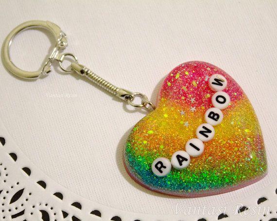 rainbow glitter sparkle heart shape keychain key by VantasiResin