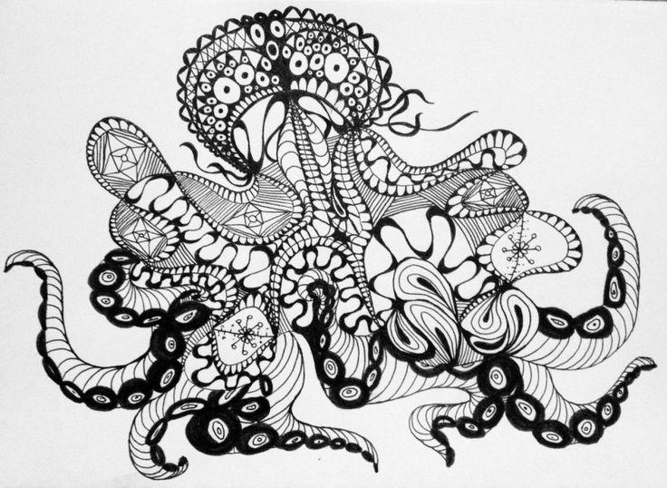 #Octopus #Impulseearth #Casablanca #Chile #Casa Botha #Mandala #Zentangle #Art #Miss Miri #Abstract #Meryem Simsek #Black and White #B&W