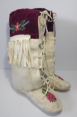 Vintage Authentic Hand Beaded Mukluks Moccasins Ladies 7 Boots Native American