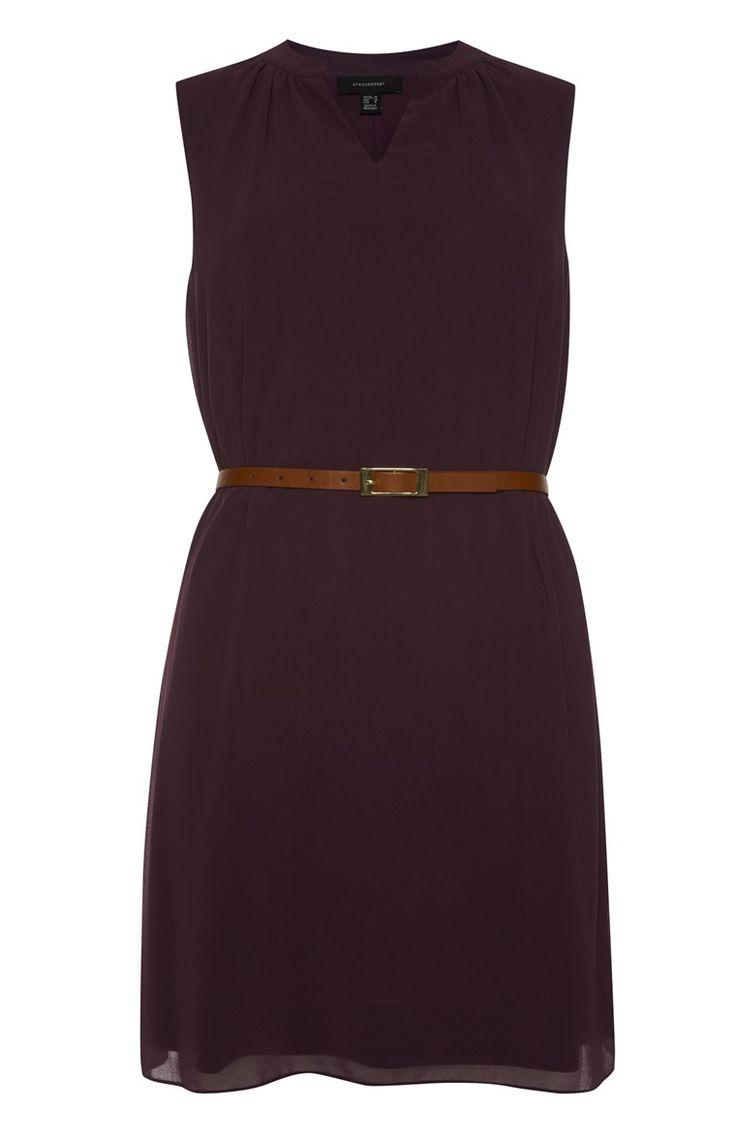 Primark - Donkerpaarse mouwloze jurk met riem