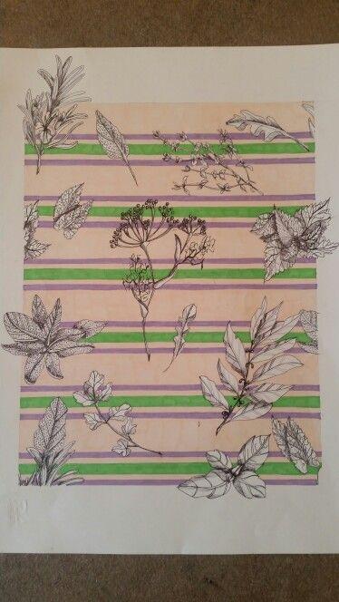 Progettazione di stampo stoffe per una tovaglia ispirata alla erbe aromatiche. Le erbe aromatiche sono state realizzate in bianco e nero ricreandone le tecstur mentre lo sfondo e stato realizzato a righe dai colori pastello