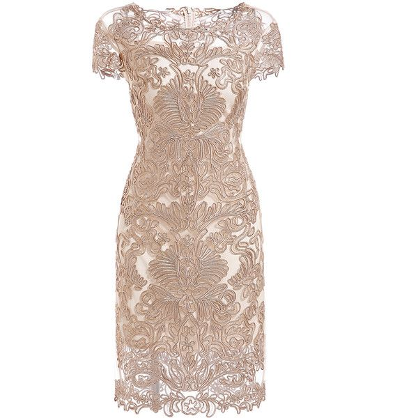 SheIn(sheinside) Apricot Round Neck Short Sleeve Bodycon Lace Dress (€71) ❤ liked on Polyvore featuring dresses, vestidos, apricot, lace bodycon dress, lace body con dress, sleeve cocktail dress, short dresses and lace-sleeve dress