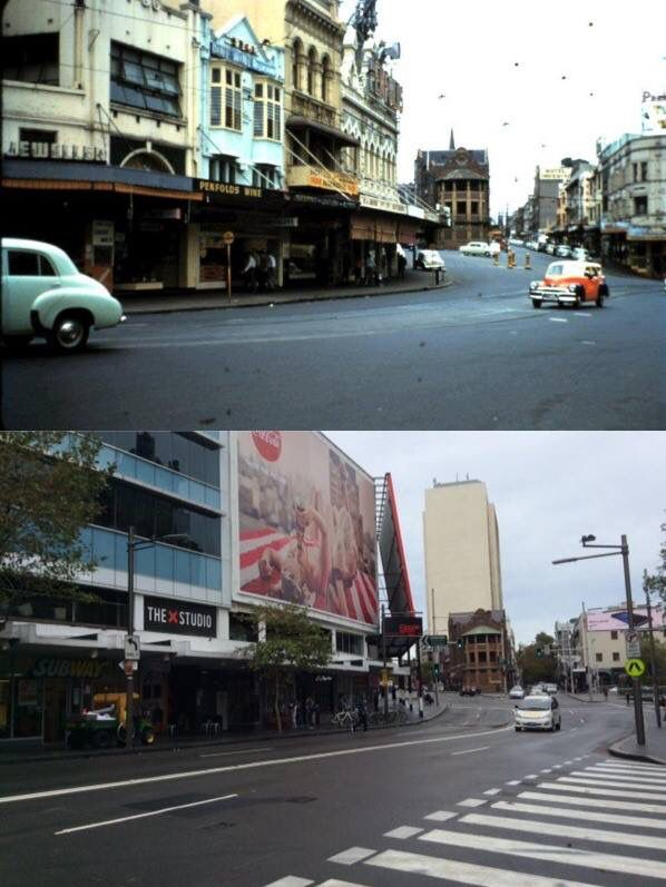 The corner of Darlinghurst Road and Victoria Street, Kings Cross c1957 > 2016 [Lindsay Green > David Heads. By David Heads]