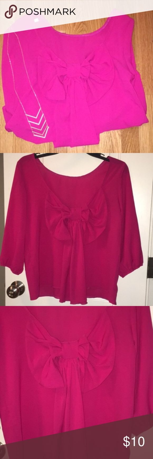 Magenta Bow Back Top I have only worn this ONCE! Like new! Big bow on the back of Blouse that can dress up any outfit. Necklace from Francesca's is also for sale. Will bundle for less! OASAP Tops Blouses