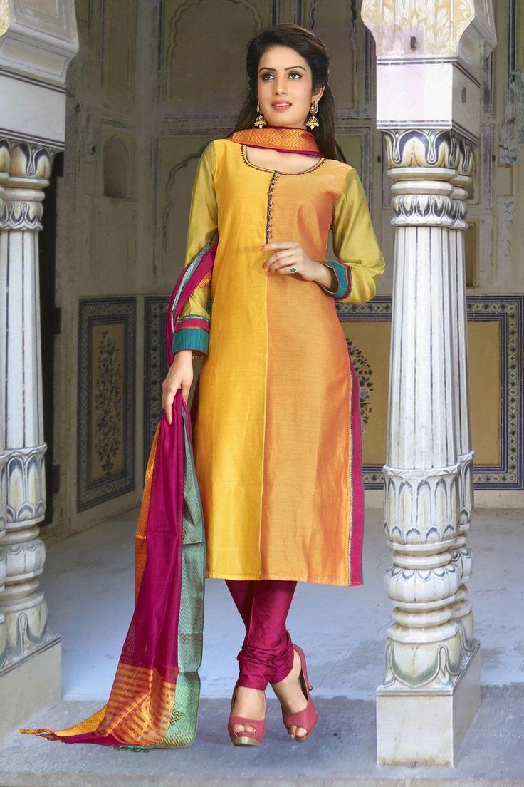 Orange designer wear readymade Punjabi salwar kamiz in art silk
