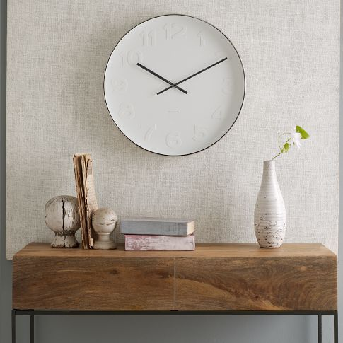Mr. White Wall Clock | west elm For over the bed with a bunch of other style clocks.