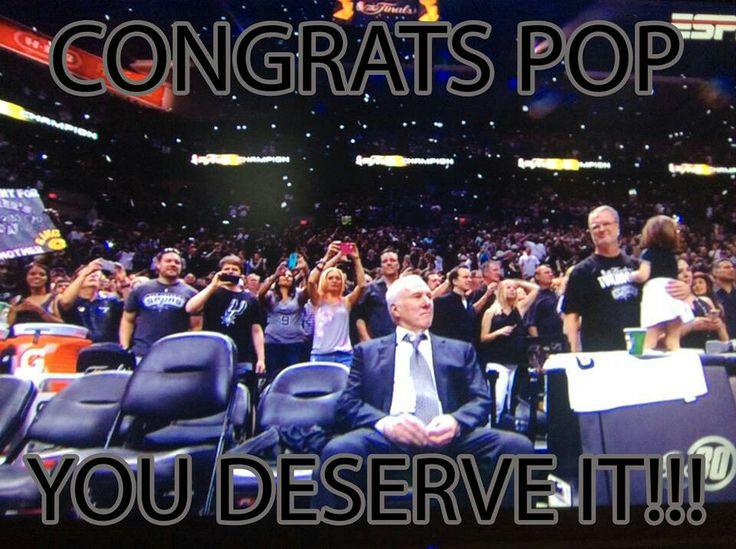 Spurs Coach Gregg Popovich. Spurs 2014 NBA FINALS CHAMPIONS