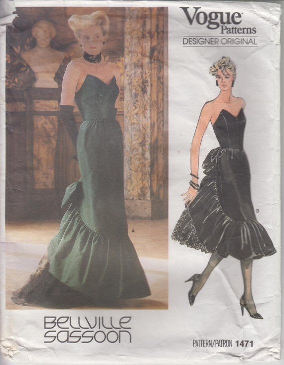 b320890f5d5 Sewing Pattern for 80s Prom Dress or Strapless Evening Gown Sassoon Size 14  Bust 36
