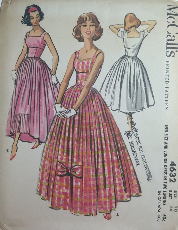 Very Rare 50s Vintage McCalls Pattern #4632 Bouffant Evening Gown Prom Dress Bombshell Dress Full Length or Short Teen Size 10 ©1958