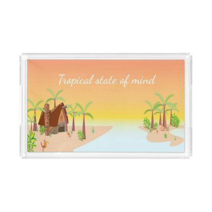 #Sunset over tropical island and quote serving tray - #travel #trip #journey #tour #voyage #vacationtrip #vaction #traveling #travelling #gifts #giftideas #idea