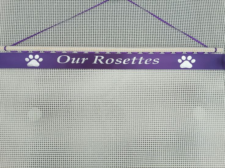 Ideas For Dog Show Rosettes . Purple Ribbon Silver Text,  can be personalised  visit www.displayyourrosettes.com