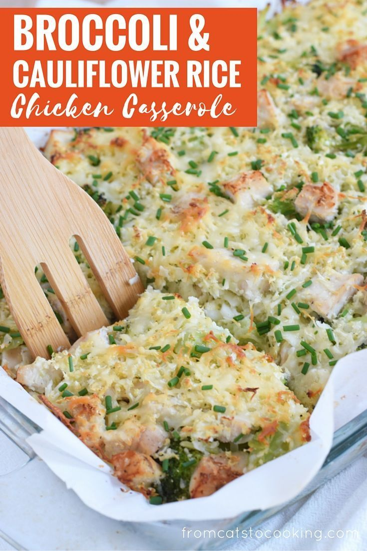 A healthy and cheesy broccoli and cauliflower rice chicken casserole that is perfect for dinner and makes great leftovers. Gluten free, grain free & paleo! // www.fromcatstocooking.com >>> >>> >>> >>> We love this at Little Mashies headquarters littlemashies.com