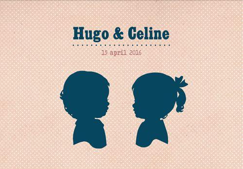 Geboortekaartje Hugo en Celine - Pimpelpluis - https://www.facebook.com/pages/Pimpelpluis/188675421305550?ref=hl (# jongen - meisje - tweeling -  silhouet - lief - origineel)