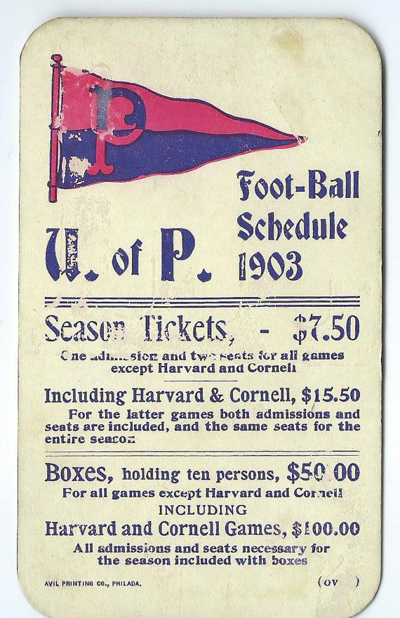 1903 University of Pennsylvania Football Pocket Schedule - Antique Football Memorabilia