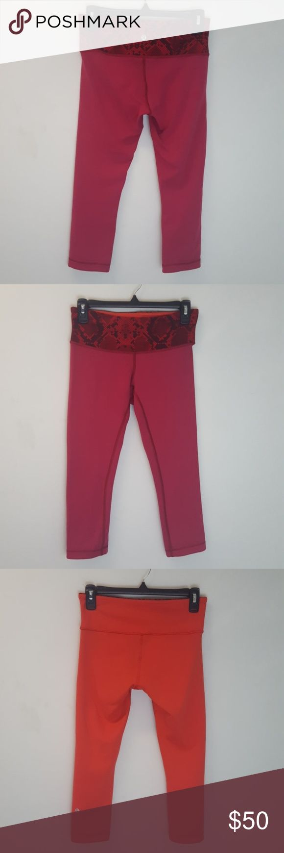 Lululemon Red Reversible Wunder Under Crop III RVS Wunder Under cropped leggings from lululemon! Red with snakeskin print waistband, and reversible to a light orange! Size 6! Slight wear/piling on red side thigh area. No rips or stains!  These no fuss, reversible crops were designed to fit like a second skin. Perfect for casual wear or to the gym! Luon fabric is sweat wicking and four way stretch! Tuck away small necessities in the hidden waistband pocket Medium rise, comfy and hugged…