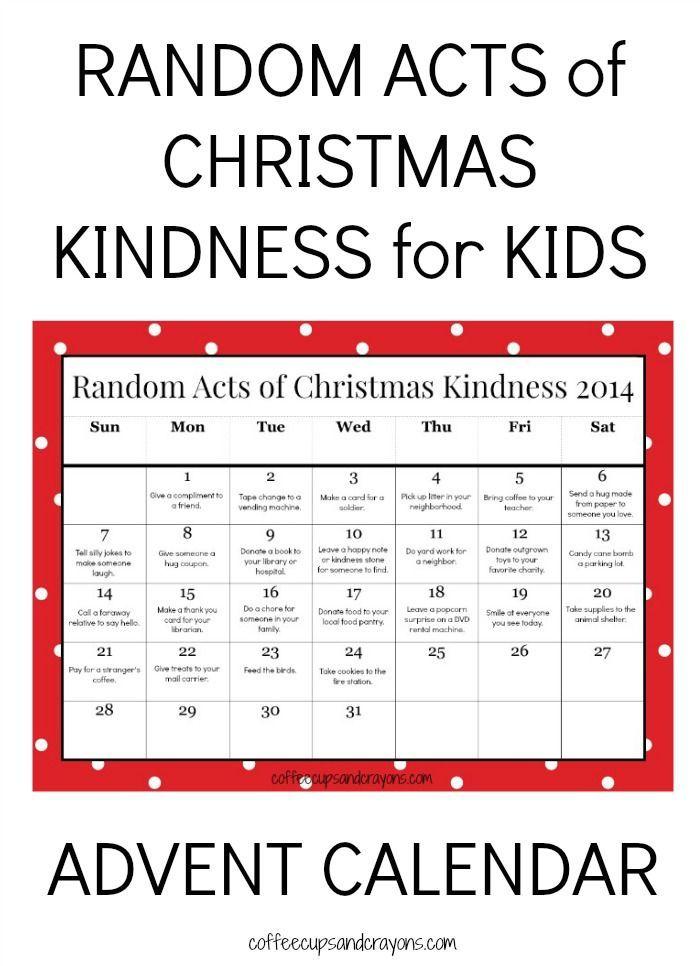 Kids Kindness Calendar : Random acts of christmas kindness printable advent