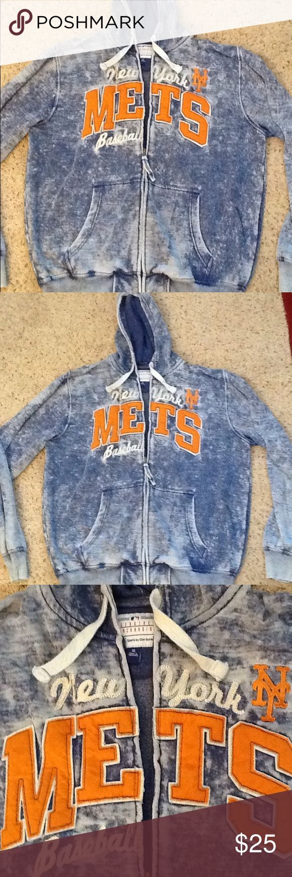 NY NEW YORK METS BASEBALL FULL ZIP HOODIE JACKET NY Mets mens sz XL, will also fit a women's sz XXL, full zip hoodie sweatshirt.  Like new condition.  Gorgeous Burn out blue color with NY Mets baseball logo.  Gorgeous and comfy!  Will ship right away.  Check out my other designer items Vintage Shirts Sweatshirts & Hoodies