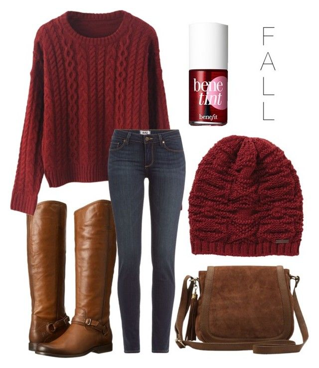 """Getting too excited for fall "" by jasminehekekire on Polyvore featuring Frye, Paige Denim, Billabong, M&Co and Benefit"