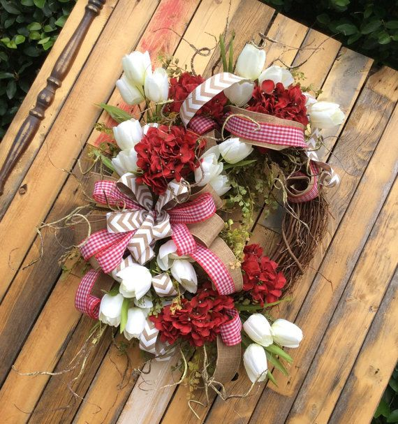 USA Wreath, Red Summer Wreath, Patriotic Wreath, Red Hydrangea Wreath, Double Door Wreath, Matching Wreaths for Two Doors,