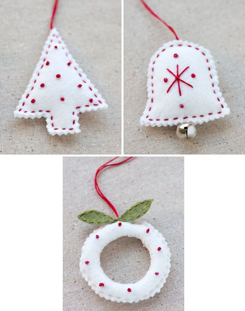 Tutorial and pattern for pretty felt ornaments