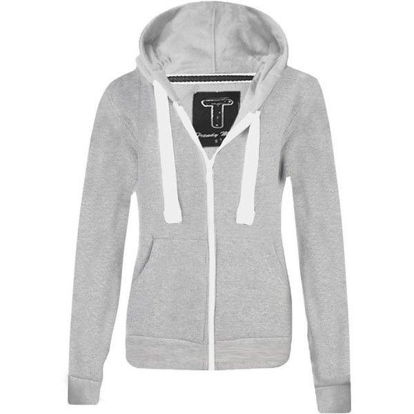 WOMENS PLAIN HOODIE LADIES HOODED ZIP ZIPPER TOP SWEAT SHIRT JACKET... (625 DZD) ❤ liked on Polyvore featuring tops, hoodies, hoodie sweat shirt, hooded pullover, hoodie sweatshirts, hoodies sweatshirts and sweatshirt hoodie