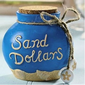 Sand Dollars...great idea to collect change thru the year for a beach trip!