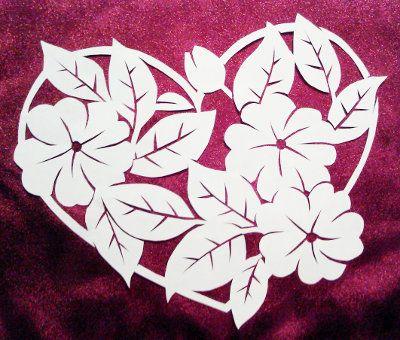 cut paper design Flower Heart