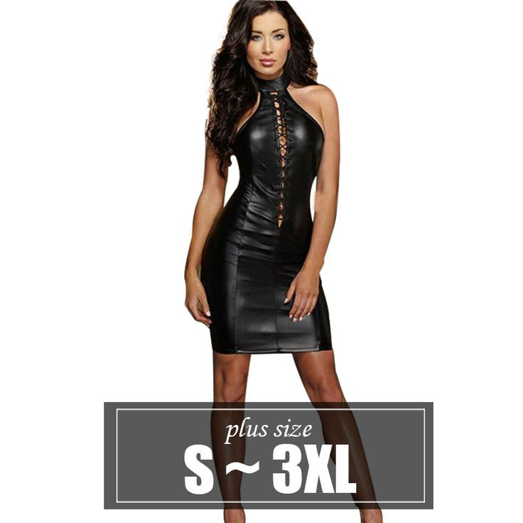>> Click to Buy << dresses Sexy black Leather dress plus size xxxl for women Mini Sleeveless Dress Club Party Dresses Nightclub Steel tube dance #Affiliate
