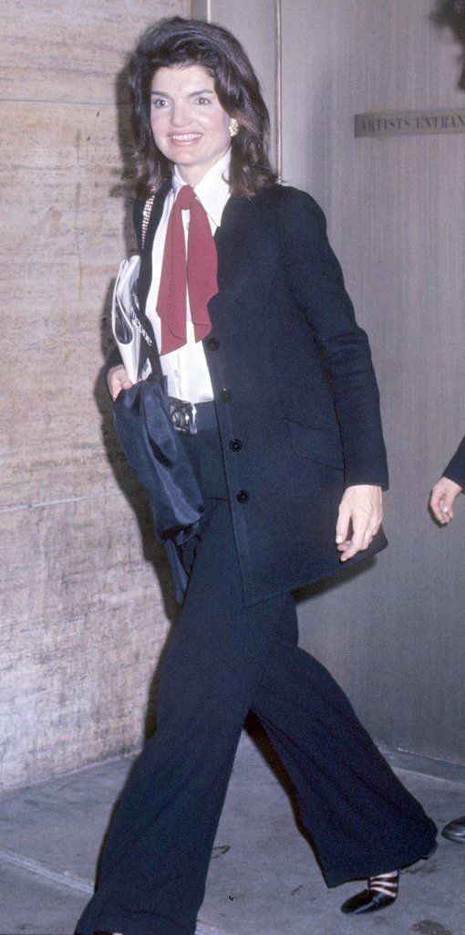 Wide-Legged Pants In the '70s, she adopted a sportier look and helped usher in wide-leg trousers and menswear-inspired dressing.