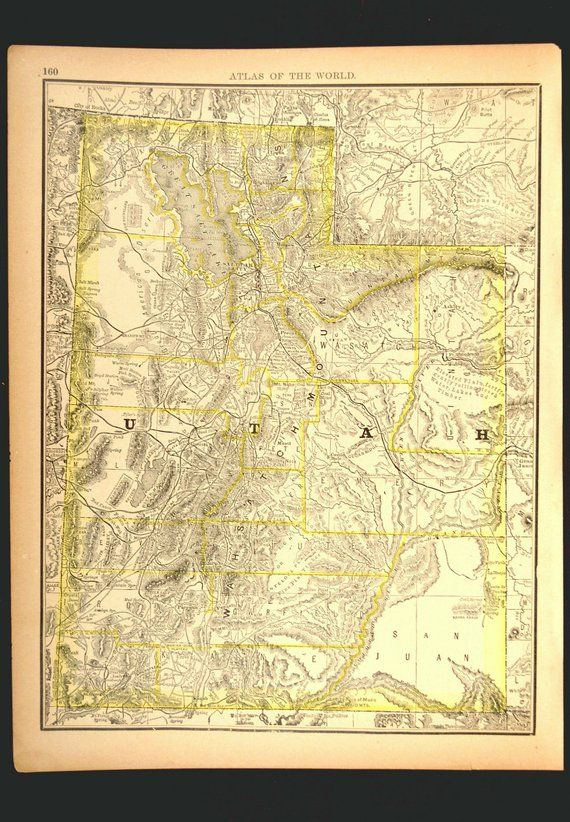 Antique Utah Map of Utah Wall Art Decor Late 1800s Original ...