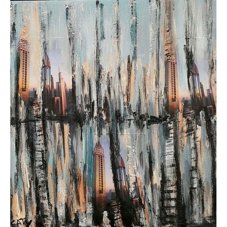 Original artwork by CATY CORDAHI  - 25 x 25 cm - Mixed media photos and oil paint with resin on canvas - 2017  Ships stretched.  For inquiries please call +971.55.269.0.289 or email us at info@MondaGallery.com